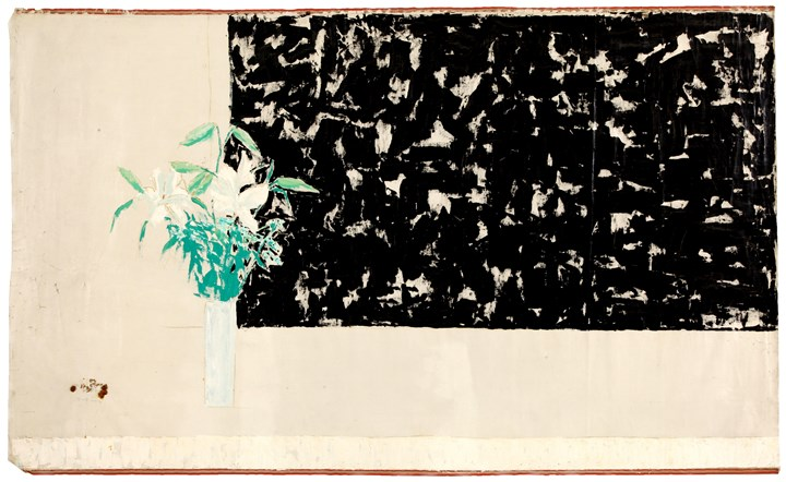 Yeh Shih-Chiang, Black Wall, White Lily《黑牆百合》(2000). Oil on canvas. 138 x 226 cm.