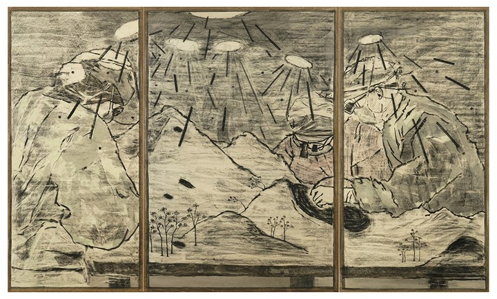 Lam Tung Pang, Landscape in operation (2018). Ink, charcoal, and acrylics on plywood. 180 x 302 cm. (triptych: 180 x 85; 180 x 122; 180 x 95 cm). Courtesy the artist and Blindspot Gallery.