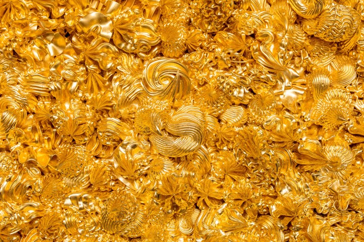 Xu Zhen® Under Heaven-Gold-0102MQ1809 (2016–2018) (detail). Oil on canvas, gold foil, aluminium. 160 × 130 cm. Courtesy the artist and Perrotin.