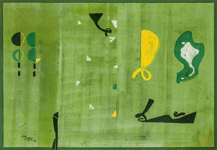 Ganesh Haloi, Untitled (2014). Gouache on Nepali paper pasted on board. 46.99 x 67.95 cm. Courtesy Akar Prakar Contemporary.
