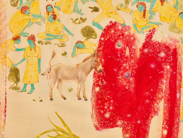 N S Harsha, Donkeys giving birth here and there (2018) (detail). Acrylic and gold foil on canvas. 190 x 150 cm. Courtesy the artist and Chemould Prescott Road.