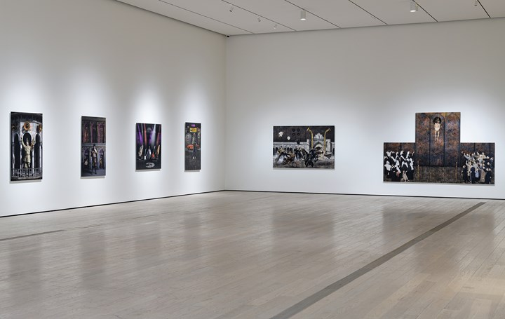 Siamak Filizadeh, works from the series 'Underground' (2014). Inkjet prints. Los Angeles County Museum of Art, purchased with funds provided by Kitzia and Richard Goodman through the 2016 Collectors Committee. Exhibition view: In the Fields of Empty Days: The Intersection of Past and Present in Iranian Art, Los Angeles County Museum of Art (6 May–9 September 2018). © Siamak Filizadeh. Photo: © Museum Associates/LACMA.
