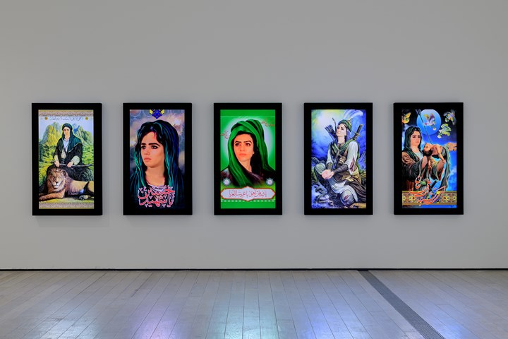 Shoja Azari, Icon #1–5 (2010). Video portraits. Exhibition view: In the Fields of Empty Days: The Intersection of Past and Present in Iranian Art, Los Angeles County Museum of Art (6 May–9 September 2018). Courtesy the artist and Leila Heller Gallery, New York. © Shoja Azari. Photo: © Museum Associates/LACMA.