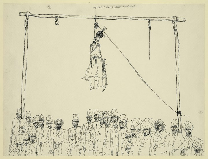Ardeshir Mohassess, The king is always above the people from the series Life in Iran (1978). Ink on paper. 46 x 60 cm. Prints & Photographs Division, Library of Congress, Washington, D.C., © Ardeshir Mohassess Estate