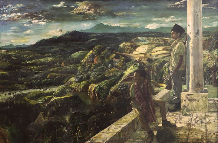 S. Sudjojono, Aku Cinta Padamu Tanah Airku (1954). Oil paint on canvas. 90 x 110 cm. Courtesy National Gallery of Indonesia.