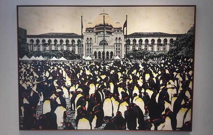 Najib Ahmad Bamadhaj, Justice (2017). Oil and bitumen on canvas. 213 x 152 cm. Exhibition view: Reflections, TAKSU, Kuala Lumpur (8–30 December 2017). Photo: Tessa Moldan