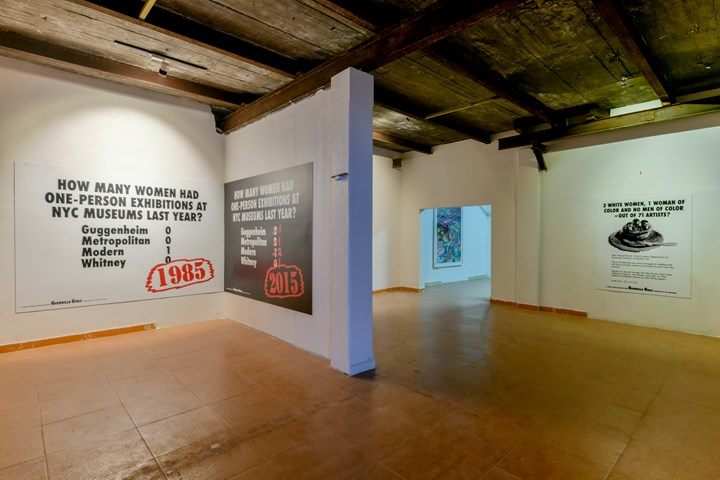 Works by the Guerrilla Girls on view at Possibilities for a Non-Alienated Life, Kochi-Muziris Biennale, Kochi (12 December 2018–29 March 2019). Courtesy Kochi Biennale Foundation.