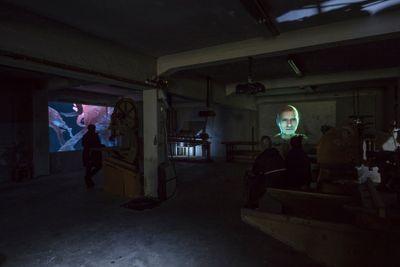 Ann Lislegaard, Malstrømmen (2017). Two-channel 3D animation, colour, sound. 5 min 7 sec. Exhibition view: I Taste the Future, Lofoten International Arts Festival 2017, Trevarefabrikken, Lofoten (1 September–1 October 2017). Photo: Kjell Ove Storvik/NNKS.