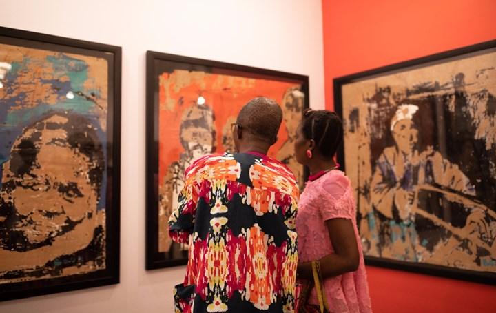 Works by Armand Boua on view at SMO Contemporary Art, ART X Lagos (3–4 November 2018). Courtesy ART X Lagos.
