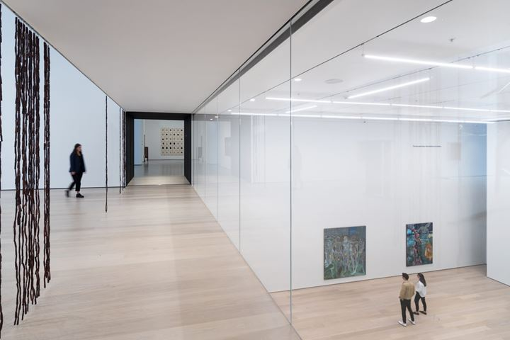 Left to right: Sheela Gowda, of all people (2019); Projects 110: Michael Armitage, The Museum of Modern Art, New York. The Museum of Modern Art renovation and expansion designed by Diller Scofidio + Renfro in collaboration with Gensler.  Courtesy Museum of Modern Art. Photo: Iwan Baan.