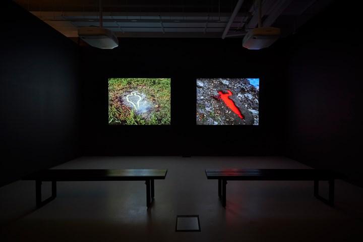 Ana Mendieta, Untitled: Silueta Series (1978); Silueta Sangrienta (1975) (left to right). Exhibition view: Five Artists: Sites Encountered, M+ Pavilion, Hong Kong (7 June–10 October 2019). Courtesy M+, Hong Kong.