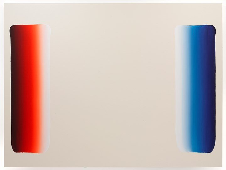 Lee Ufan, Dialogue (2017–2018). Acrylic on canvas. 218.4 x 291.5 cm. © 2018 Artists Rights Society (ARS), New York / ADAGP, Paris. Courtesy the artist and Pace Gallery.