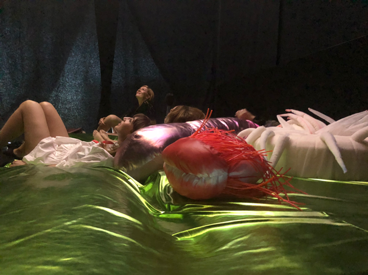 "Anne Duk Hee Jordan, Ziggy and the Starfish (2016–18) detail. Video installation, bed, fishnet, pillows, two single-channel HD videos, colour, sound, 16' 28"" and 21' 01"". Installtion view: 1st Riga Biennial, Everything Was Forever Until It Was No More, (2 June–28 October 2018). Courtesy the artist. Photo: Anne Duk Hee Jordan."