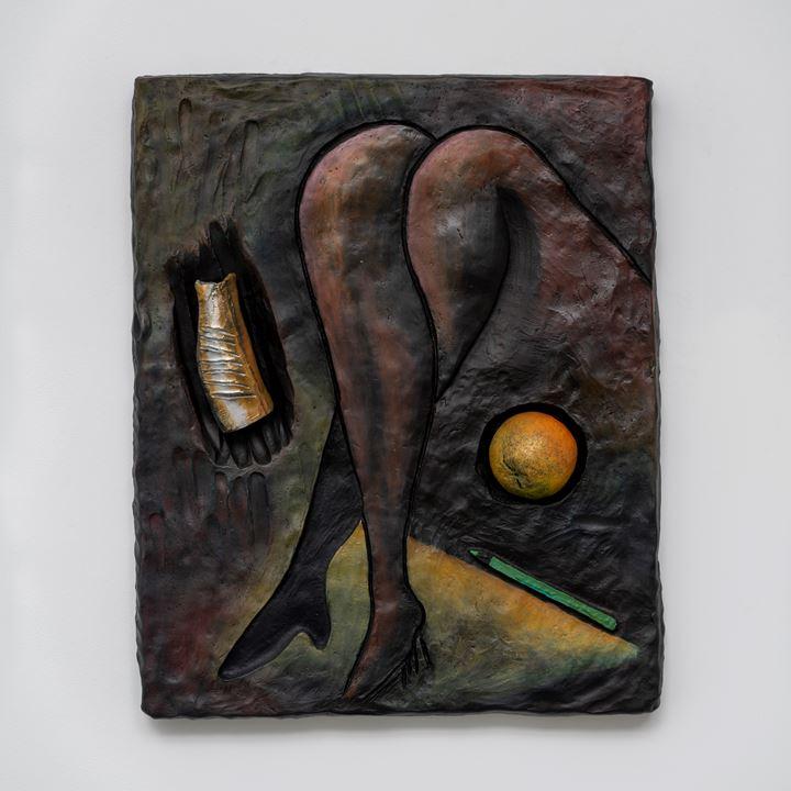Erika Verzutti, Man Ray with Fish (2019). Bronze, cast aluminium, and oil. 70 x 57 x 10 cm. Unique work in a series of 3. © Erika Verzutti. Courtesy Fortes D'Aloia & Gabriel, São Paulo/Rio de Janeiro. Photo: Eduardo Ortega.