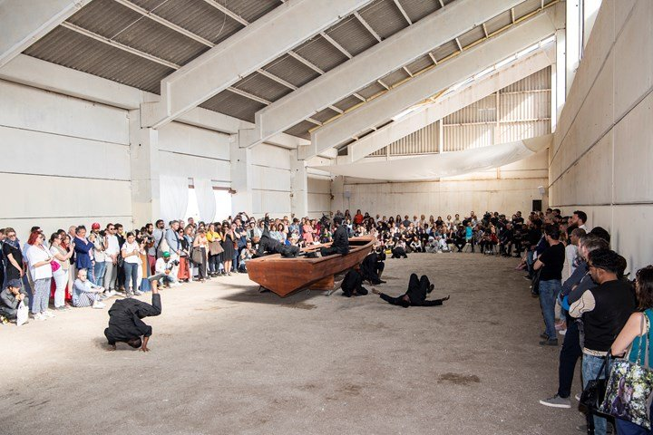 Mohau Modisakeng, Land of Zanj (2019). Performance by Thembekile Komani and Aphiwe Mpahleni Mohau Modisakeng. Performance view: Sharjah Biennial 14: Leaving the Echo Chamber, Kalba Ice Factory (7 March–10 June 2019). Courtesy Sharjah Art Foundation.