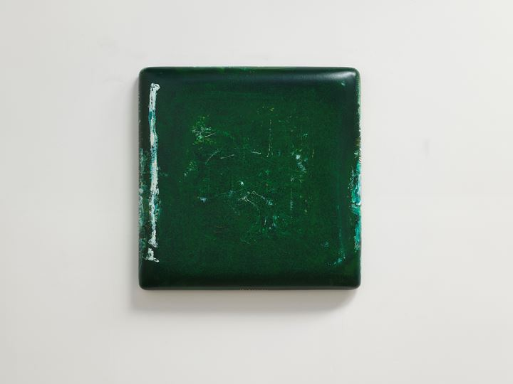 Su Xiaobai, Pond of Pellucid Green (2018). Oil, lacquer, linen, and wood. 111 x 111 x 13 cm. Courtesy Tina Keng Gallery.