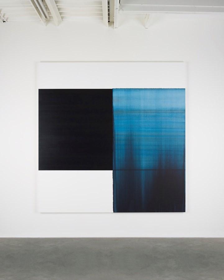 Callum Innes, Exposed Painting Byzantine Blue (2018). Oil on linen. 235 x 230 cm. Courtesy Sean Kelly.