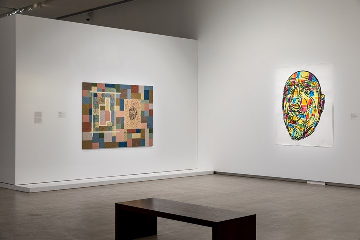 Carlos Capelán, Self Portrait as a Museum (2019); Map of the World (Thursday) (2018) (left to right). Exhibition view: TarraWarra International 2019: The Tangible Trace, TarraWarra Museum of Art, Tarrawarra (8 June–September 2019). Courtesy the artist. Photo: Andrew Curtis.