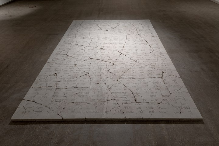 Shilpa Gupta, The markings we have made on this land have increased the distance so much (2019). Exhibition view: TarraWarra International 2019: The Tangible Trace, TarraWarra Museum of Art, Tarrawarra (8 June–September 2019). Courtesy the artist and Galleria Continua, San Gimignano, Beijing, Les Moulins, Habana. Photo: Andrew Curtis.