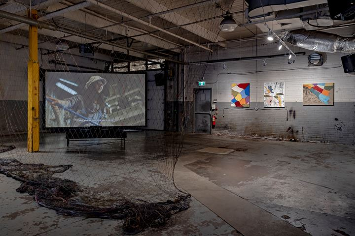 Shezad Dawood, Leviathan: The Cod Trap (2019). HD video, cod net from Fogo Island, 6 paintings. Co-commissioned by Fogo Island Arts, Museum of Contemporary Art Toronto Canada, A Tale of a Tub (Rotterdam), and the Toronto Biennial of Art. Exhibition view: The Shoreline Dilemma, Toronto Biennial of Art, 259 Lake Shore Boulevard East, Toronto (21 September–1 December 2019). Courtesy Toronto Biennial of Art. Photo: Toni Hafkenscheid.