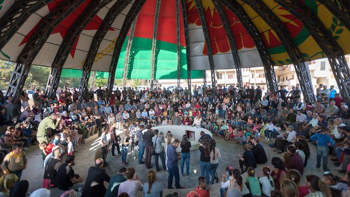 Democratic Federation of North Syria and Studio Jonas Staal, New World Summit—Rojava (2015–2018), Dêrik, Canton Cizîrê, Rojava. Courtesy Studio Jonas Staal. Photo: Ruben Hamelink.