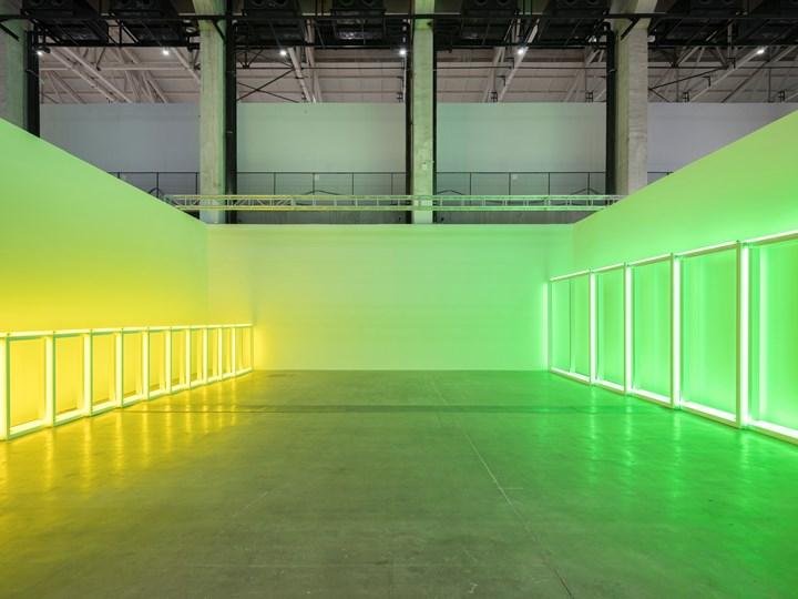 Dan Flavin, untitled (to Sonja) (1969). Yellow and green fluorescent light. Approximately 976 cm. Exhibition view: David Zwirner, West Bund Art & Design (8–11 November 2018). Courtesy Ocula in collaboration with West Bund Art & Design. Photo: Xing Zhenzhong 邢振中.