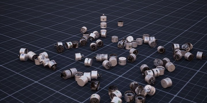 Forensic Architecture and Praxis Films, Triple-Chaser (2019). Video, colour, sound. 10 min 24 sec. 3-D models of the Triple-Chaser grenade and images of used canisters, distributed in digital space, help train a computer vision classifier. Courtesy Forensic Architecture.