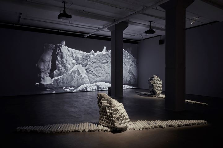 Exhibition view: Julian Charrière, Towards No Earthly Pole, Sean Kelly, New York (31 January–21 March 2020). Courtesy Sean Kelly, New York. Photo: Jason Wyche, New York.