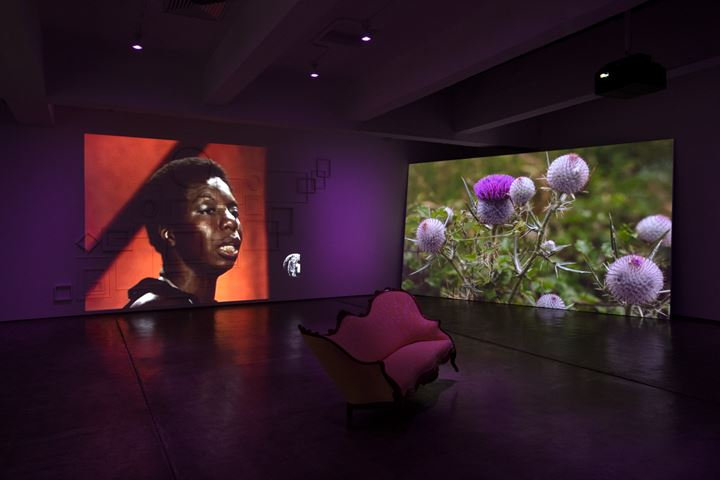 Ja'Tovia Gary, THE GIVERNY SUITE (2019) (detail). Film. 39 min 56 sec, three-channel installation, stereo sound, HD and SD video footage, colour/black & white, 1920 x 1080, 16:9 aspect ratio, dimensions variable, Edition of 5, +2 APs. Exhibition view: flesh that needs to be loved, Paula Cooper Gallery, New York (15 February–21 March 2020). Courtesy Paula Cooper Gallery.