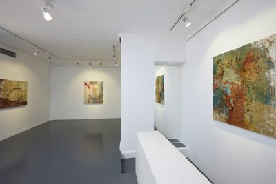 A series of earthy, abstract paintings are showing in a small gallery space.