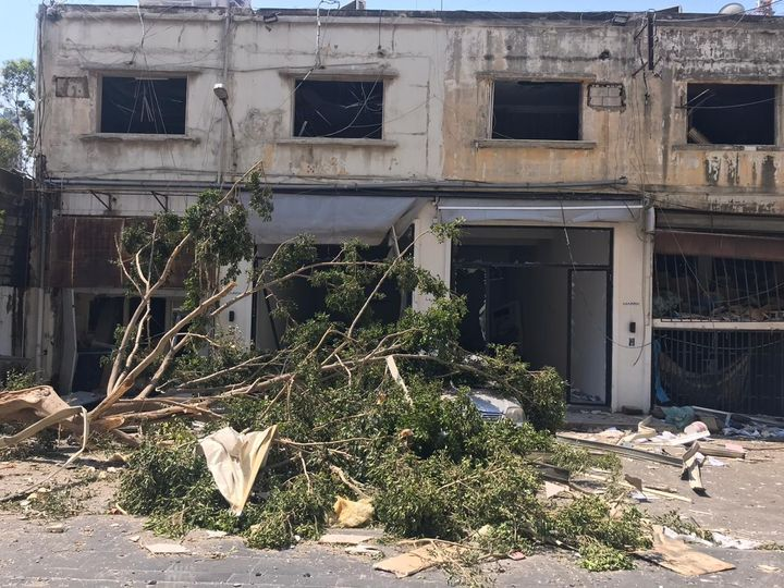 Rubble and fallen trees sit outside Marfa' Projects in Beirut as a result of the 2020 port blasts.