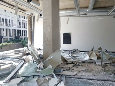 Galerie Tanit is pictured filled with rubble, its windows shattered on the street, as a result of the port blasts in Beirut in 2020.