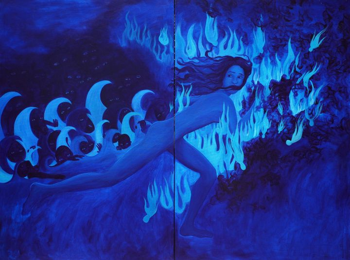 A painting varying in shades from deep to light blue shows a naked female figure running into flames, being chased by small creatures with pointed caps.