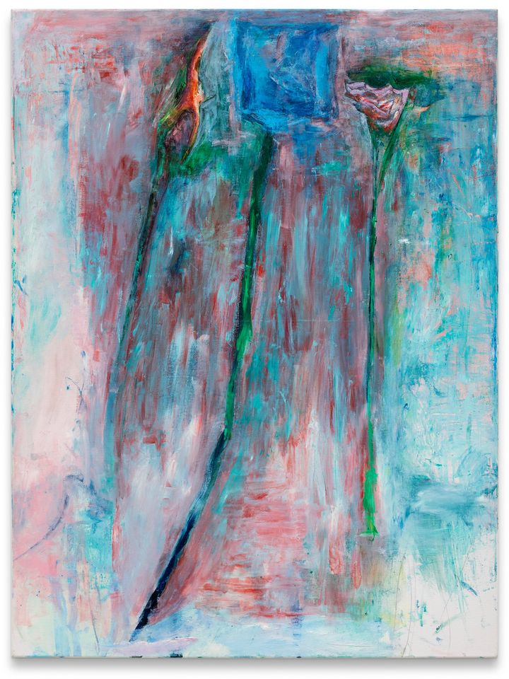 An abstract painting of layers of paint, brusquely applied on top of one another, include shades of blue, red, green, and white.