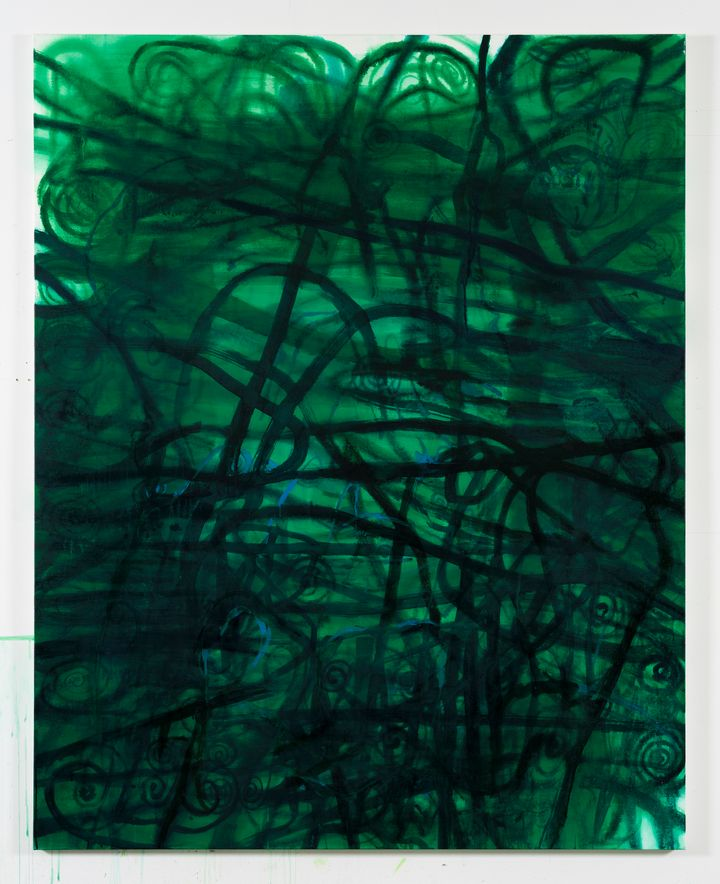 Black swirling and squiggling lines are overlaid on an emerald green background.