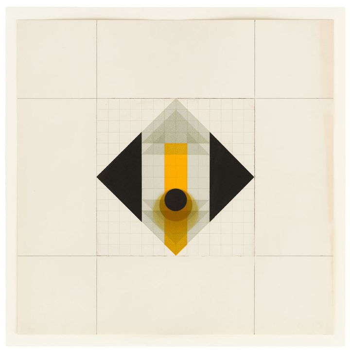 A diamond drawn on paper features a rectangle of yellow drawn down its middle, with the two outer corners containing a triangle of black each.
