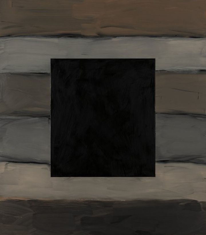 Layers of beige and brown paint are rendered in thick stripes across the canvas, with a black square painted in the centre of the canvas, on top of the stripes.