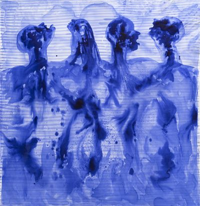 Barthélémy Toguo, Partage V (2020). Ink on canvas. 205 x 195 cm. © Barthélémy Toguo.
