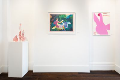 In the white space of Dellasposa Gallery, three artworks include a pink sculpture made up of organic, interconnected forms on a pedestal; a forest scene capturing a woman and a swan surrounded by trees, and a painting by David Shrigley of a pink goose, with words either side of it that read 'Stop Panicking, Everything Will be Fine'.