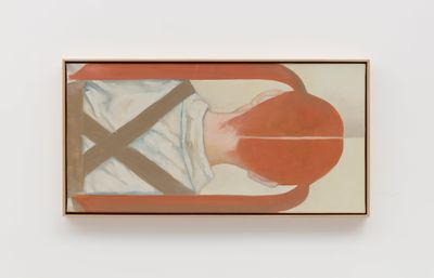A horizontal painting features the back of a girl's upper body from behind. The painting by Xiao Hanqiu is tightly composed, the girl's middle parting and the criss-crossing shoulder straps of her salopettes forming stark lines in the image.