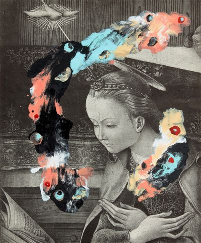 A black and white engraving of a female figure reading a script is covered with splashes of colourful paint.