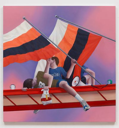 In Thomas Eggerer's painting, three figures sit upon a platform, their faces and bodies partially concealed by two large flags and the platform. The red and white platform cuts across a sky made up of gradients of purple and pink.