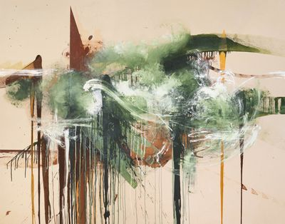 Washes of brown, green, and white are spread across a beige canvas in a painting by Elizabeth Neel, with some distinct lines cutting through the clouds of colour.