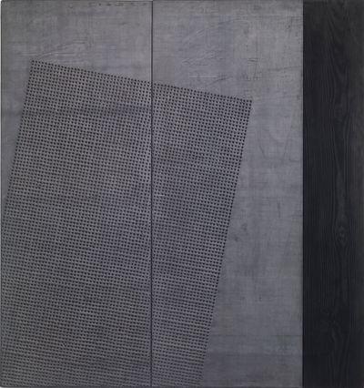 Nunzio, Mercurio (1990). Lead and combustion on wood. 128 x 119 x 3 cm.