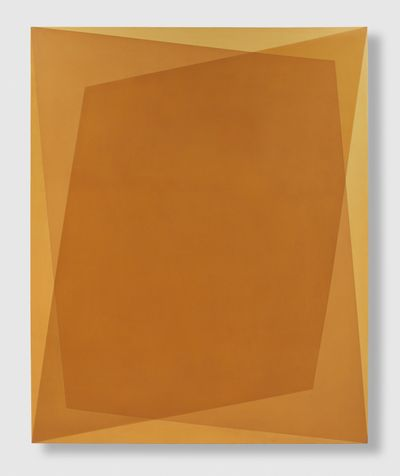 Two lopsided rectangles are layered in shades of ochre in a painting by Onya McCausland.