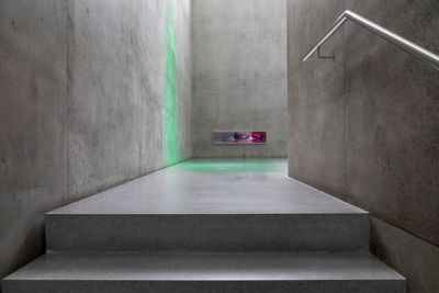 Pamela Rosenkranz's exhibition at Kunsthaus, Bregenz is photographed, capturing a pool of green light spilling into the grey room. In the distance, a horizontal picture on the wall captures an eye looking out from the pink tinted image.