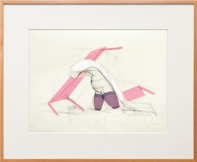 An anthropomorphic figure in pink and white bends forward, their body framed by lines and positioned between two tables.