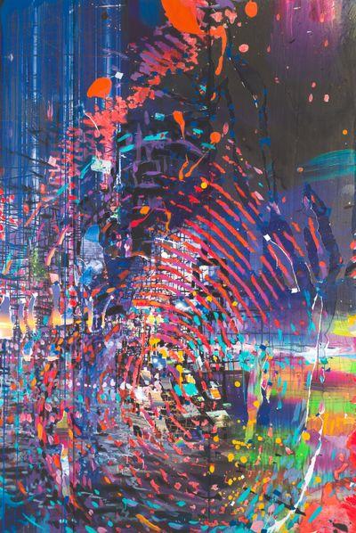 Sarah Sze, Imprint (2021). Oil paint, acrylic paint, acrylic polymers, ink, aluminium, diabond and wood. 289.56 x 193.04 x 7.62 cm. © Sarah Sze.