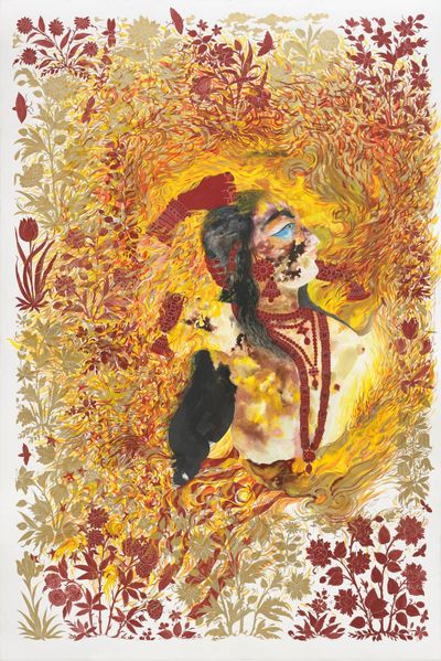 In a detailed painting by Shahzia Sikander, a figure adorned with beads and earrings looks towards the sky, their body engulfed by seeping lines and floral details in yellow, red, and orange.