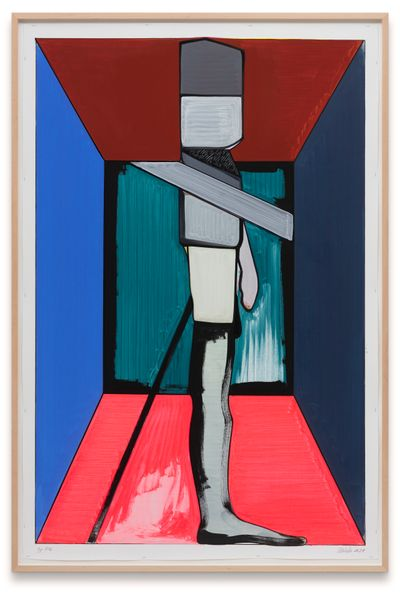 A figure stands erect in a painting by Thomas Scheibitz, their legs outlined against a pink background, while their top half, made up of a red rectangle among other shapes, is outlined against a blue background.